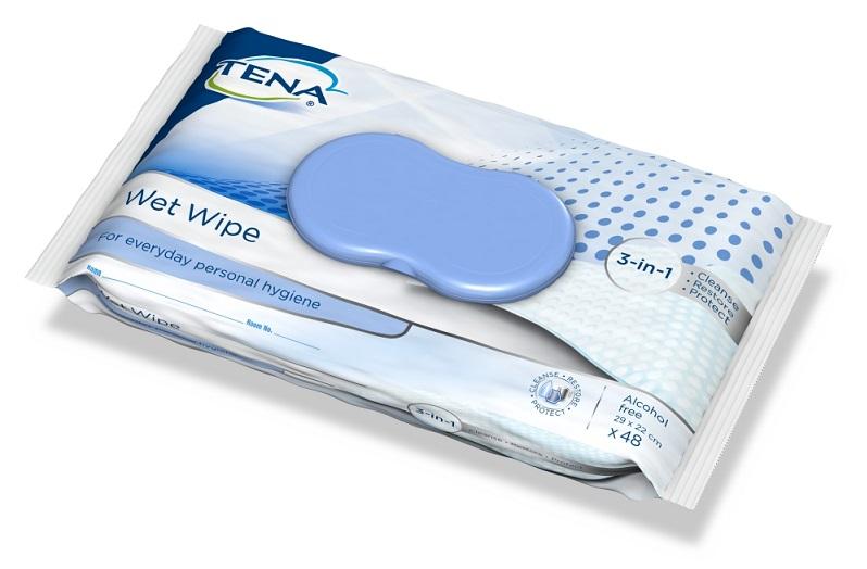 TENA Wet Wipe vlhčené utěrky s formulí 3v1 48 ks
