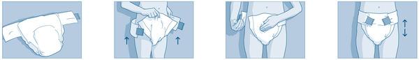 Navlékání plenkových kalhotek
