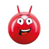 Míč skákací s rukovítky Hop Obličej John 45-50 cm červený