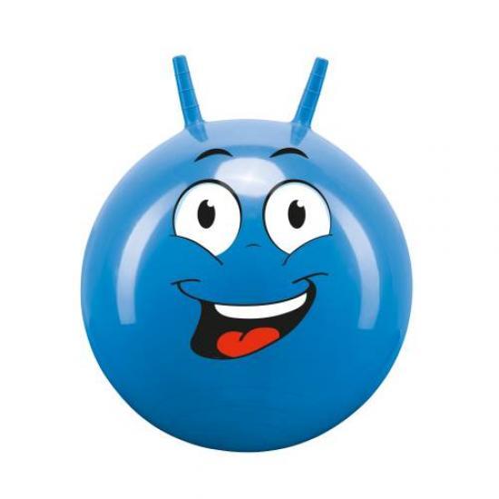 Míč skákací s rukovítky Hop Obličej John 45-50 cm modrý