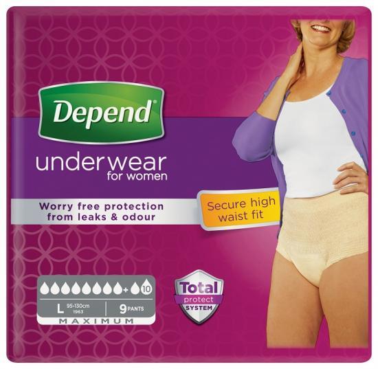 Depend Maximum L s vyšším pasem natahovací kalhotky pro ženy 9 ks