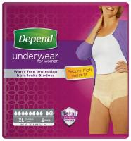 Depend Maximum XL s vyšším pasem navlékací kalhotky pro ženy 9 ks