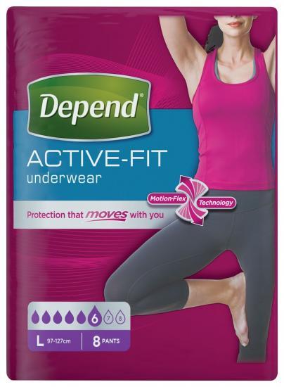 Depend Active-Fit L navlékací kalhotky pro ženy 8 ks