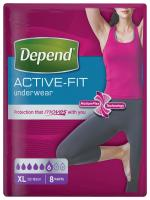 Depend Active-Fit XL natahovací kalhotky pro ženy 8 ks