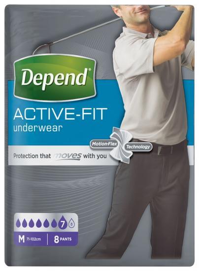 Depend Active-Fit M navlékací kalhotky pro muže 8 ks