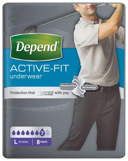 Depend Active-Fit L natahovací kalhotky pro muže 8 ks