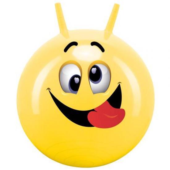Míč skákací s rukovítky Hop Obličej John 45-50 cm žlutý