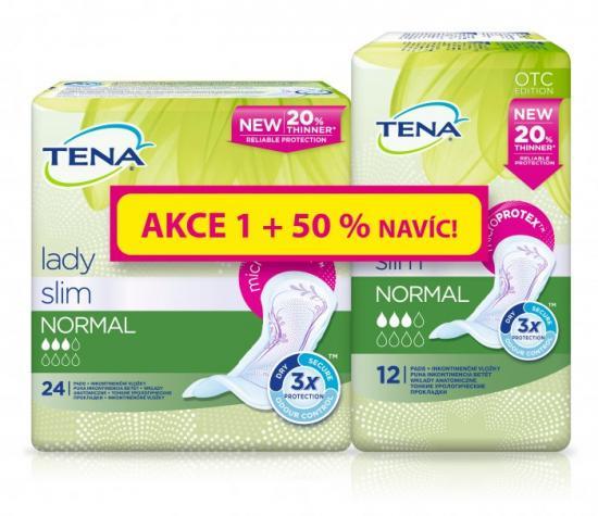 TENA Lady Slim Normal dámské vložky + 50% navíc, 36 ks