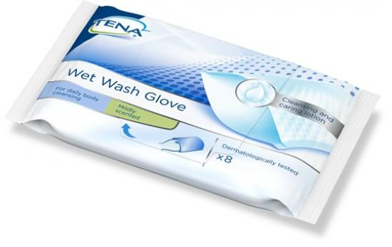 TENA Wet Wash Glove Mycí žínka s jemnou vůní 8 ks