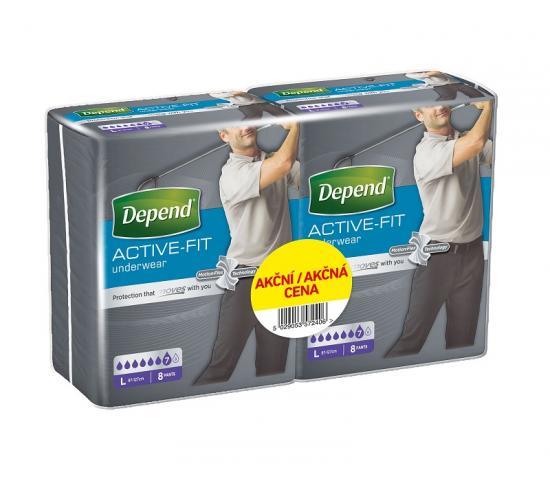Depend Active-Fit L navlékací kalhotky pro muže DUOPACK 2x8ks
