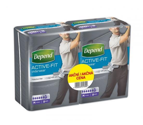 Depend Active-Fit M navlékací kalhotky pro muže DUOPACK 2x8ks