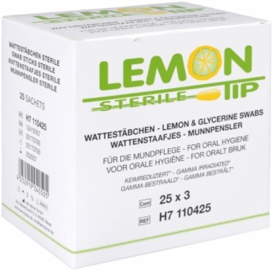 Tyčinky glycerinové pro hygienu dutiny ústní, cca 10 cm, citronová příchuť, sterilní 75 ks