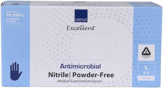 Rukavice ABENA antimikrobiální NITRIL L, nepudrované 200 ks