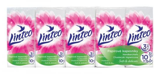Linteo papírové kapesníky Linteo 3-vrstvé 10x10 ks