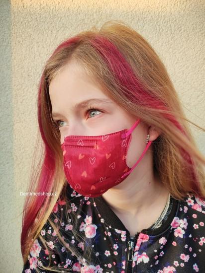 Dětský respirátor FFP2 Balerina 4vrstvý - srdce (vzor 187)