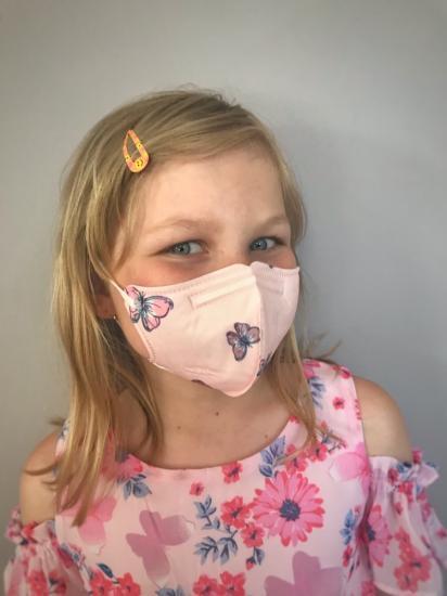 Dětský respirátor FFP2 Balerina 4vrstvý - motýli (vzor 44)